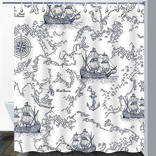 Gdmoon Nautical Map Shower Curtain Sailboat World Map Compass Anchor Outdoor Adventure Boys Kids Sketch Pirate Ship Wheel Geographical Landmark Fabric Bathroom Curtain Set 72x72In YLWHGD1037