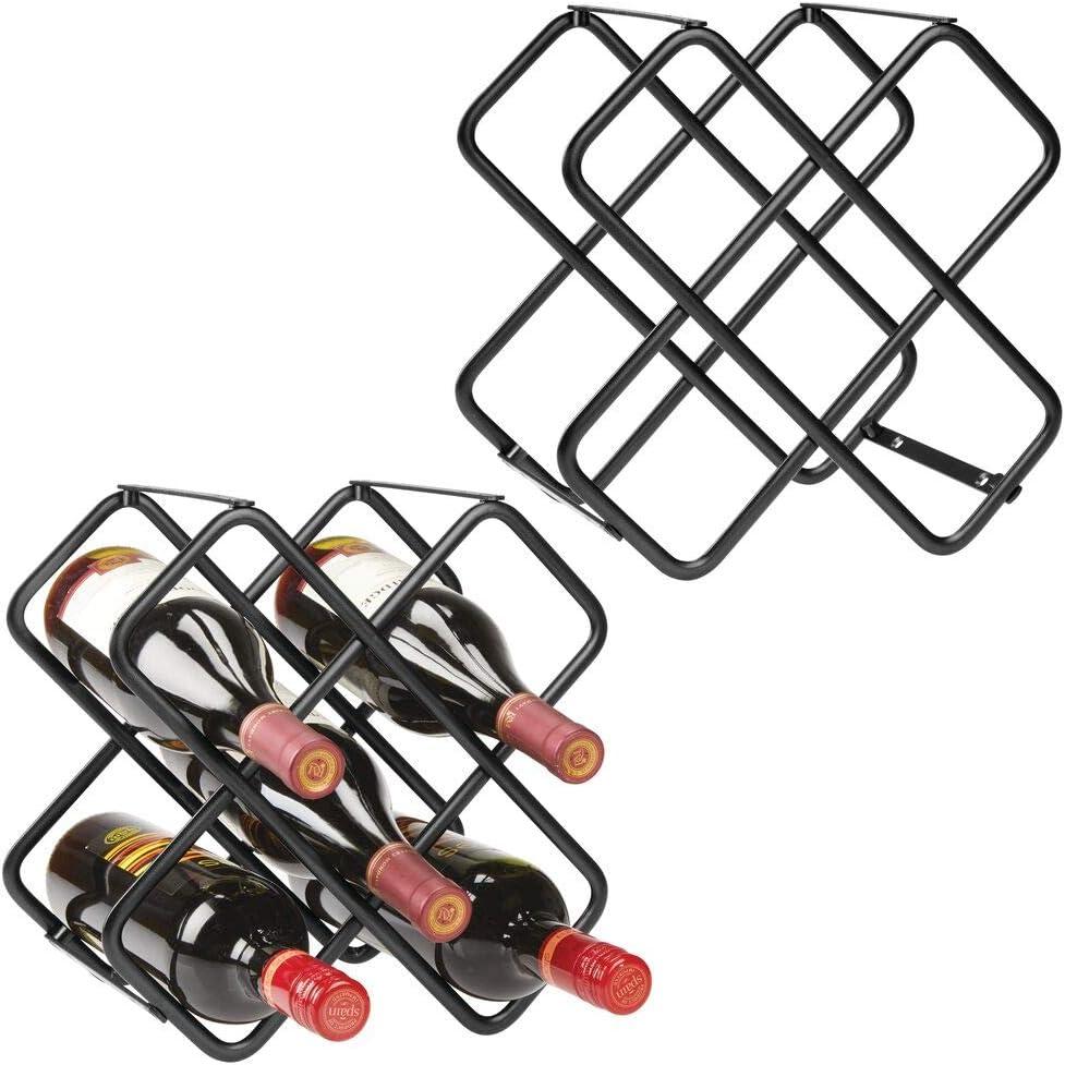 mDesign Juego de 2 muebles botelleros con capacidad total para hasta 10 botellas – Bonito estante para botellas en tres niveles – Botellero de metal de pie para vino y otras bebidas – negro
