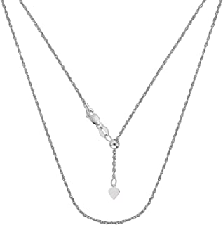 ARGENTO REALE | Collar de cadena ajustable de plata de ley 925 | Cadena de cuerda de plata de ley de 1,5 mm | Collar bolo...