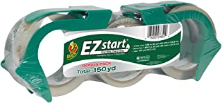 Duck EZ Start Packing Tape, 2 Dispensers, 3 Rolls, 150 Total Yards of 1.88 Inch Tape, Clear (1079097)