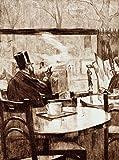 Kunst für Alle Impresión artística/Póster: Lesser URY Herr mit Zylinder VOR einem Kaffeehausfenster - In Rückenansicht - Impresión, Foto, póster artístico, 55x75 cm