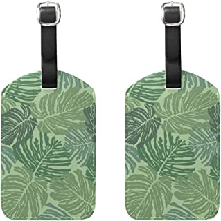 MASSIKOA Abstract Tropical Green Leaves Cruise Luggage Tags Suitcase Labels Bag,2 Pack
