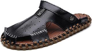 Z.L.FFLZ Men Sandals Men's Beach Slippers Breathable Perforation Genuine Leather Non-slip Sole Sandals Switch Backless San...