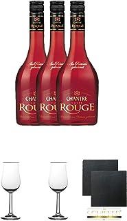 Chantrè Cuvee Rouge 3 x 0,7 Liter  2 Bugatti Nosing Gläser mit Eichstrich 2cl und 4cl  2 Schiefer Glasuntersetzer eckig ca. 9,5 cm Durchmesser