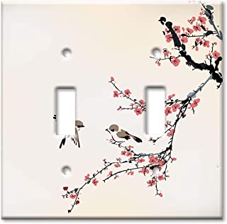 Art Plates 2-Gang Toggle OVERSIZE Switch Plate/OVER SIZE Wall Plate - Birds on a Cherry Blossom