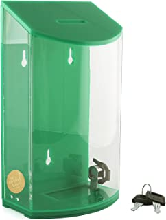 MCB - Rounded Acrylic Charity Box - Donation Box - Collection Box - Tip Container -(Green)
