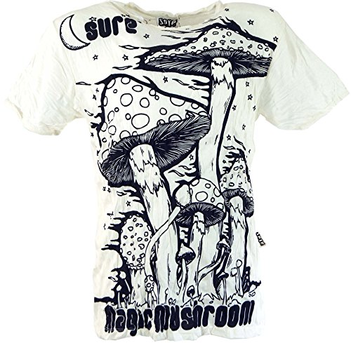 Guru-Shop Sure T-Shirt Magic Mushroom, Herren, Weiß, Baumwolle, Size:L, Bedrucktes Shirt Alternative Bekleidung