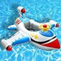 Baby Inflatable Pool Float Airplane Swimming Float Boat with Steering Wheel Horn for Kids Toddlers Age 1-4 Boys Girls Inflatable Ride-ons Summer Pool Swim Ring Beach Supplies
