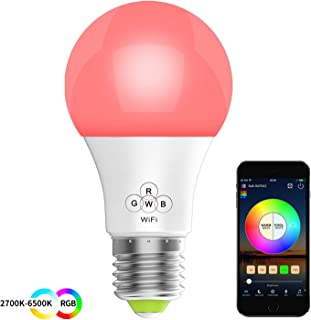 HaoDeng Smart LED WiFi Light, e27 a19 Edison Bulb -Timer & Sunrise & Sunset - Dimmable, Multicolor, Warm White - No Hub Required, Compatible with Alexa, Google Home Assistant and IFTTT(New)