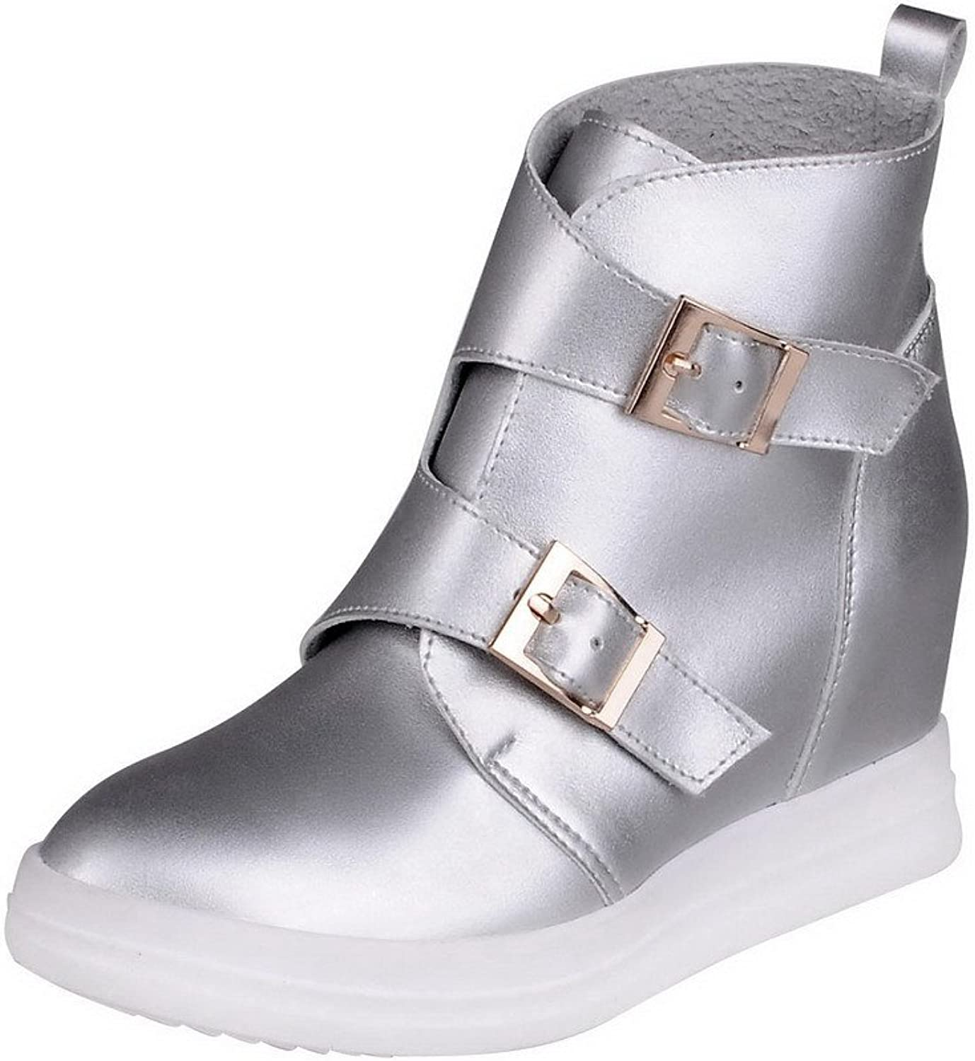 AllhqFashion Women's Pointed Closed Toe Ankle High High Heels Solid Pu Boots