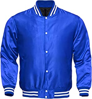 Varsity All Satin Letterman Baseball Jacket Blue Color with White Trimming