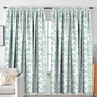 NUOMANAN Curtains for Bedroom Aqua,Sea Wave Like Image Round Swirls Beach Theme Decor Hand Drawn Style Artwork,Seafoam and White,Darkening and Thermal Insulating Draperies 84