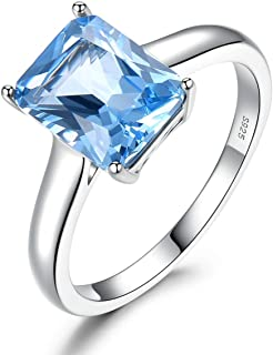 8x10mm Emerald Cut Blue Topaz Solitaire Engagement Ring Solid 925 Sterling Silver Plain Band Promise ring