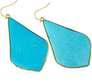 Crystal Quartz Stone Dangle Hook Earrings Rhombus Shape Gold Plated
