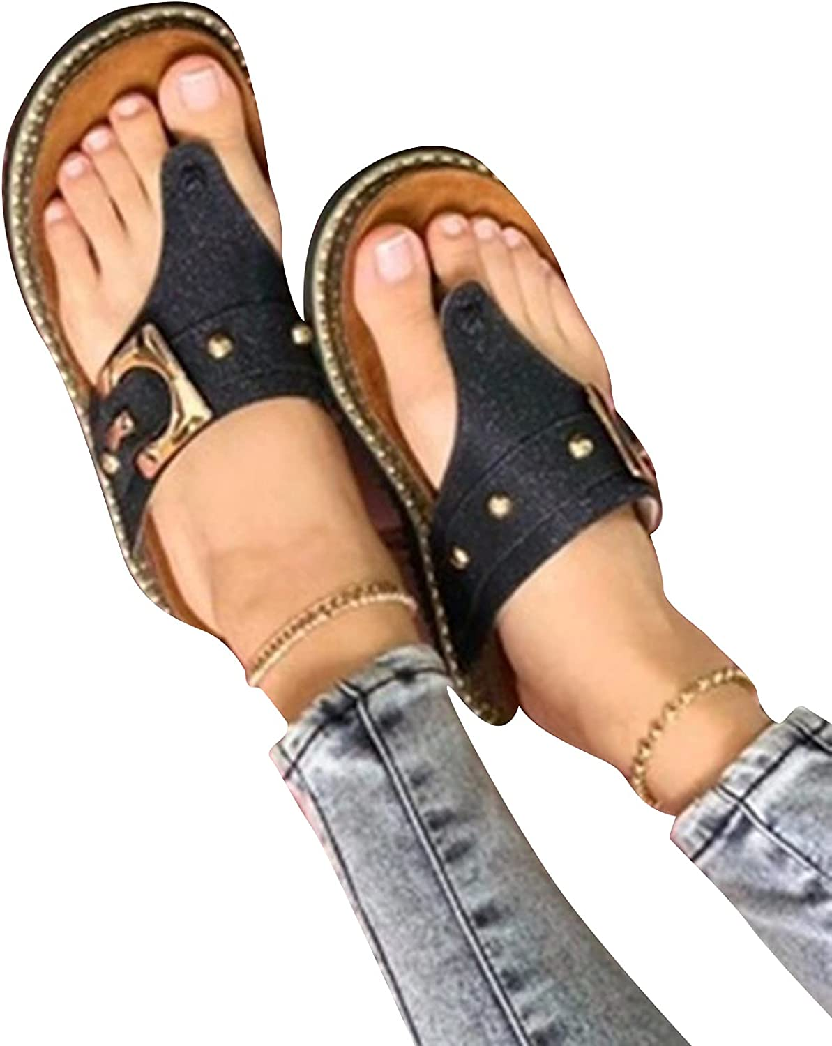 DREAMOSA Women Casual Sandals with Toe Post Design Durable Lightweight Long Lasting for Daily Life Hiking Outdoors Walking,Women's Fashion Sandals Arch Support Sandals
