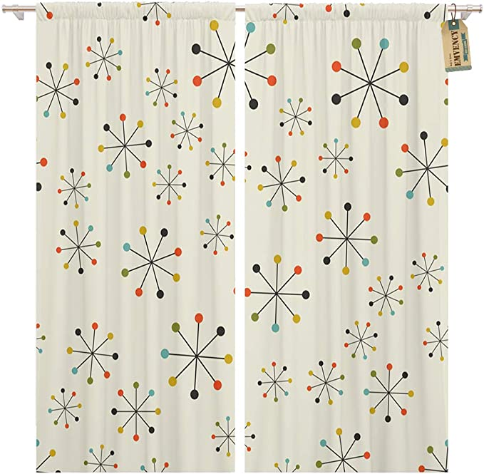 Golee Window Curtain 60s Mid Century Absctract Geometric Pattern Space Retro 1950s Home Decor Pocket Drapes 2 Panels Curtain 104 X 84 Inches Home Kitchen