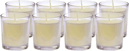 CandleNScent Canola Unscented Votive Candles in Glass   Up to 20 Hour Burn Time   Natural Canola (Pack of 8)