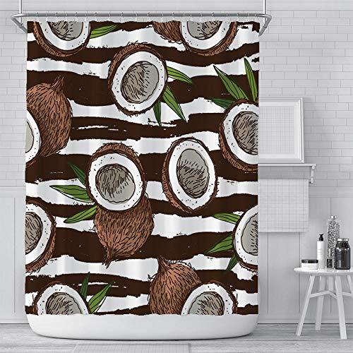 Duschvorhangs Obst Polyester Fabric Duschvorhang Anti Schimmel Wasserdicht Anti-Schimmel Mit 12 Haken Für Hotel Und Familie 160 X 180 cm