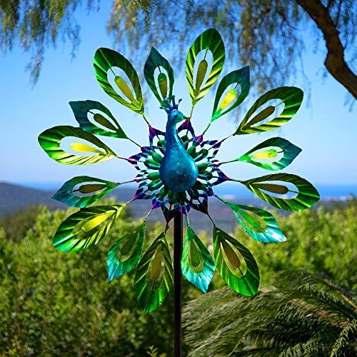 Primrose Garden Peacock Metal Outdoor Wind Spinner Powder Coated Windmill...