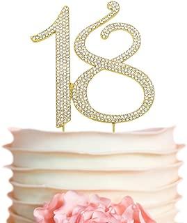 18 GOLD Birthday Cake Topper | Premium Sparkly Crystal Rhinestone Bling Diamond Gems | 18th Birthday Party Decoration Ideas | Quality Metal Alloy | Perfect Keepsake (18 Gold)