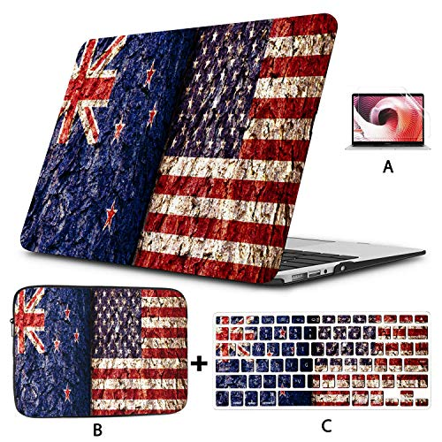 MacBook Air Accessories New Zealand Flag and United States Flag Over Crack MacBook Air Accessories Hard Shell Mac Air 11'/13' Pro 13'/15'/16' with Notebook Sleeve Bag for MacBook 2008-2020 Version