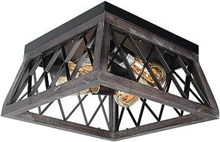 Beuhouz Wood Rustic Ceiling Light Fixture, Black Square Farmhouse Flush Mount Ceiling Lighting Retro Industrial Wire Cage Close to Ceiling Light 4 Light Edison E26 8029