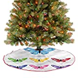 ThinkingPower Falda rústica para árbol de Navidad, mariposas con alas, decoración navideña, adornos para Navidad, Año Nuevo, fiesta, hogar, diámetro de 76,2 cm