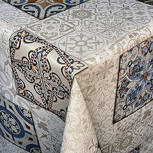 KEVKUS Tovaglia Jacquard in cotone rivestito DG508 Mosaico Piastrelle beige-blu quadrate rotonde ovali (bordo in cotone, 140 x 220 cm rettangolare)