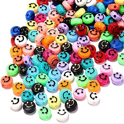 LISM Mehrfarbige Smiley-Perlen 200 Stück, 0,93 Zoll Smiley-Perlen, süße Acryl-Smiley-Perlen, verwendet in der Schmuckherstellung von DIY-Armbändern, Ohrringen, Halsketten, Taillenketten-Basteln
