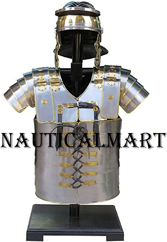 NAUTICALMART Armor Breastplate LARP with Helmet Lorica Segmentata Segmenta Roman