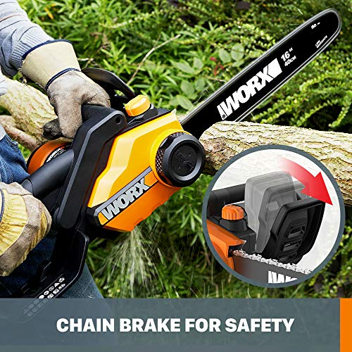 Worx WG303.1, 14.5 Amp 16-inch Corded Electric Chainsaw with Auto-Tension, Chain Brake