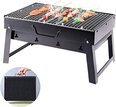 GeeWatom BBQ Grill Portable BBQ Charcoal Grill Foldable BBQ Tool Camping Outdoor Cooking Hiking Picnics Party Black