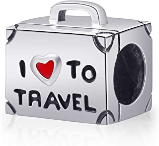 ENJOOOY Holiday Fun Viewing-Travelling Theme 925 Silver Charm Beads I Love Travel Compatible with European Style Bracelets (Silver Travel Bag)