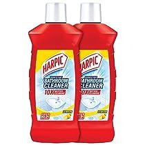 Harpic Disinfectant Bathroom Cleaner Liquid, Lemon – 1 L (Pack of 2)   With Sodium Hypochlorite 0.5% w/w Min.