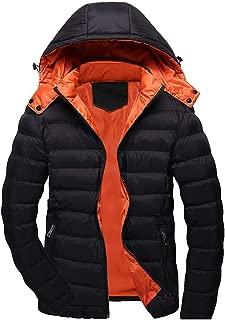 Beautyfine Warm Hooded Coat Men Casual Winter Solid Zipper Long Sleeve Jacket Outwear Tops