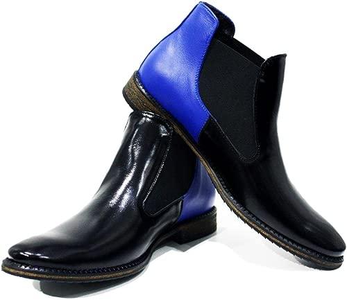 Modello Cisterna di Latina - Handgemachtes Italienisch Bunte Herrenschuhe Lederschuhe Herren Blau Stiefeletten Chelsea Stiefel - Rindsleder Weiches Leder - Schlüpfen
