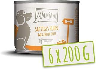 MjAMjAM - Pienso acuoso para Perros - Jugoso Pollo con Suave Pato con Zanahorias y mijo cocido - Natural - 6 x 200 g