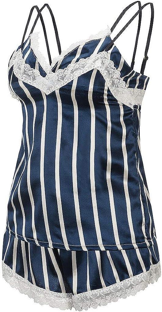 MODOQO Women's Silk Pajamas Sexy Satin Lingerie Lace Shorts Set Underwear Sleepwear