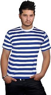 WickedFun Mens Stripped Top Shirt Stag Do Navy Sailor Fancy Dress Short Sleeve Cotton Stripe T-Shirts