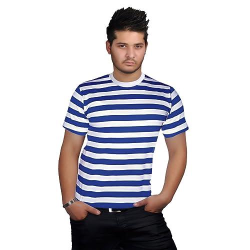 cecd538a775a92 Mens Stripped Top Shirt Stag Do Navy Sailor Fancy Dress Short Sleeve Cotton  Stripe T-