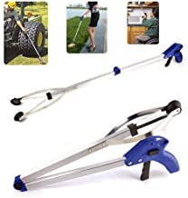 JTW-Heavy Duty Aluminium Pick Up-Long Reach Arm Extension Reacher Grabber Suction Cup Grip Grabber Pick Up Tool for Light Bulb Remover, iPad Pick Up, Litter Picker, Trash Blue and Sliver color 32 inch