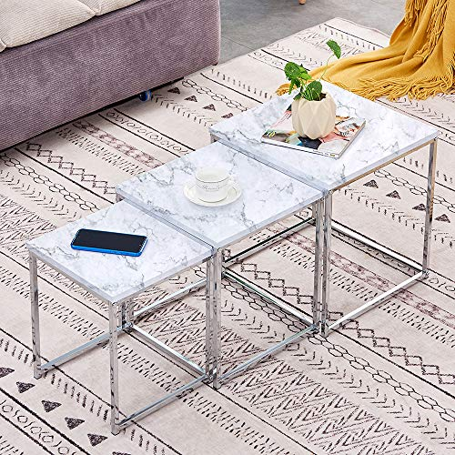 HomeSailing White Marble Pattern End Tables Side Nest Of Table Wooden Top Chrome Legs For Living Room Coffee Bedroom Small Space Sofa Nesting of 3