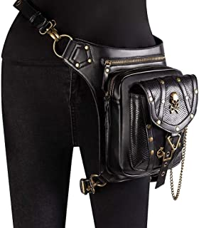 Rjj Steampunk Hip Bag Waist Pack,Waterproof PU Steampunk for Women,Sport PU Leather Steampunk Waist Pack,Women Motorcycle Leg Bag Handbag Exquisite