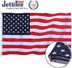 Jetlifee American Flag 10x15 Ft by US Veterans Owned Biz. Embroidered Stars Sewn Stripes and Brass Grommets US Flag. Fast Dry All Weather USA Flag for Indoors Outdoors 10 x 15 Foot