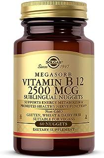 Solgar Vitamin B12 2500 mcg, 60 Nuggets - Energy Metabolism, Nervous System Support, Heart Health - Non-GMO, Vegan, Gluten...