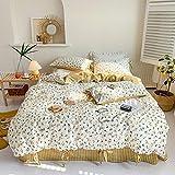LDDPP Juego de funda de edredón de 4 piezas, diseño floral de algodón fresco y idílico, no se desvanecen y se lavan suavemente, de fácil cuidado
