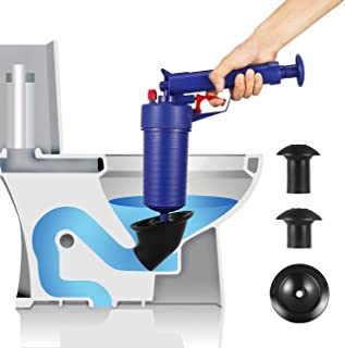 Drain blaster air Powered plunger gun, High Pressure Powerful drain clog remover sink Plunger Opener cleaner pump for Bath Toilets, Bathroom, Shower, kitchen Clogged Pipe Bathtub (blue)