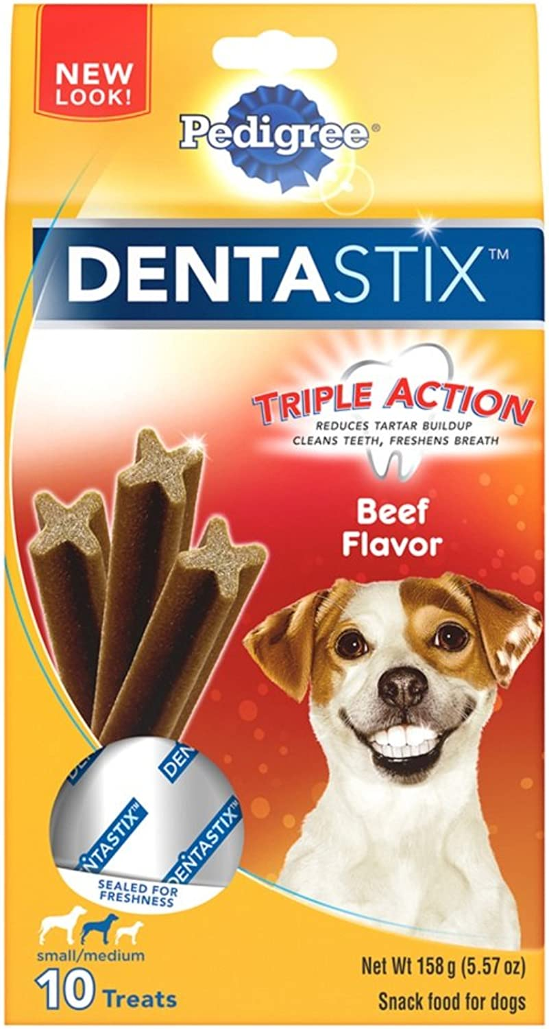 PEDIGREE DENTASTIX Small Medium Dog Chew Treats, Beef, 10 Treats (Pack of 7)