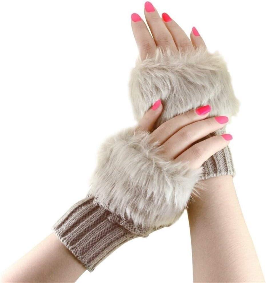 FASGION Fashion Winter Women Gloves Plush Faux Fur Knitting Wool Keep Warm Short Mitten Fingerless Lady Girl Half Finger Glove (Color : Khaki)