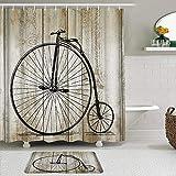 Juego de Cortinas y tapetes de Ducha de Tela,Bicicleta Clásica Vintage Bicicleta Madera,Cortinas de baño repelentes al Agua con 12 Ganchos, alfombras Antideslizantes